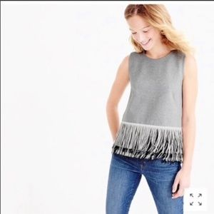 J.Crew Grey Knit top with fun black & white fringe